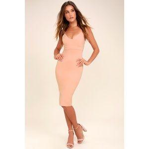 Lulus Don't Tell 'Em Blush Pink Bodycon Midi Dress